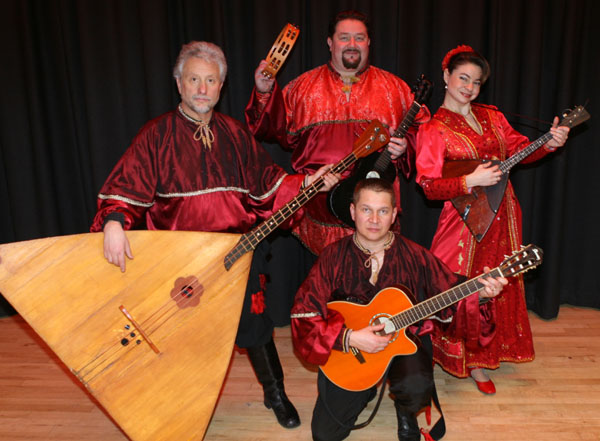 Ensemble Barynya: Leonid Bruk, Alexander Menshikov, Elina Karokhina, Mikhail Smirnov, Los Angeles, California, February 2011. Photo by Leonid Bruk
