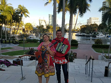 Mikhail Smirnov, Elina Karokhina, Russian balalaika duo, Black Tie Gala, Fort Lauderdale Grand Russian Ball 2017, Mary Porter Riverview Ballroom, 75th Anniversary of Florida Grand Opera, Broward Center for the Performing Arts, 201 Southwest 5th Ave, Fort Lauderdale FL 33312, Saturday February 11th 2017