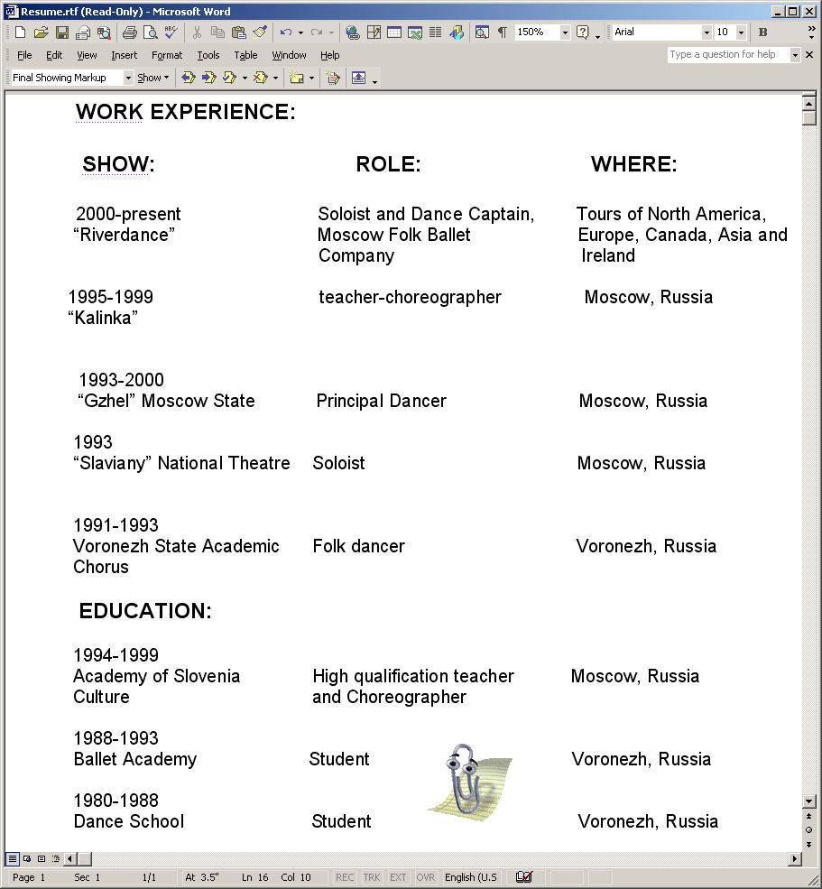 russian dancer anna brovkina resume - Dancer Resume