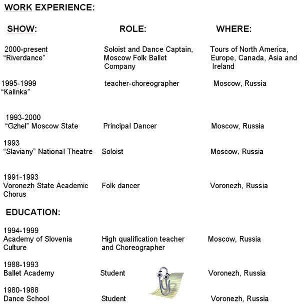 anna brovkina resume - Dancer Resume