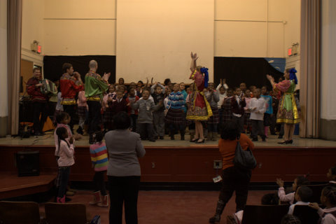 Multicultural school assembly. Russian dance and music, dance workshop. January 26, 2011, Brooklyn, New York