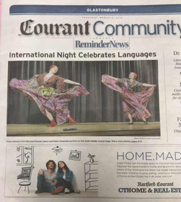 Barynya dancers Olga Chpitalnaia and Simona Zhukovski on the front page of The Hartford Courant, Hartford, Connecticut, March 19th, 2018.  Photo by Steve Smith