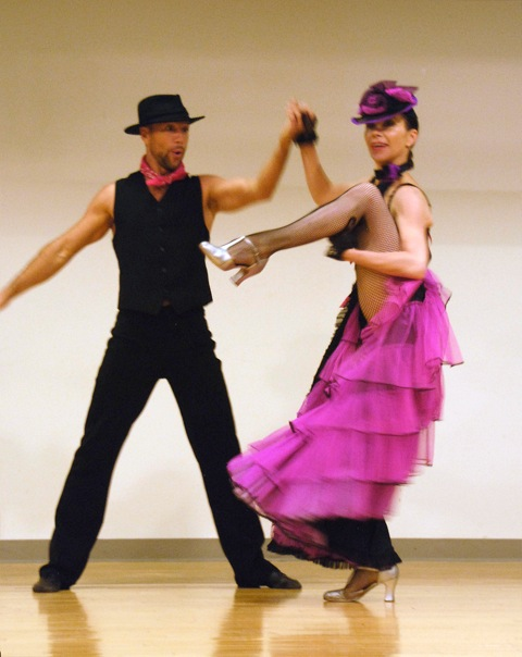 New York Can-Can Cabaret dancers at the Sachem Public Library
