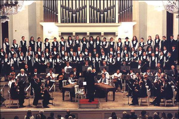 The Andreev State symphonic balalaika orchestra performing with Children's choir of TV and radio of St.Petersburg