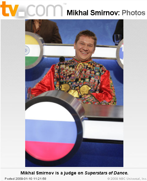 Mikhail Smirnov, photo from TV.com website. Mikhail Smirnov as a Russian judge on Superstars Of Dance
