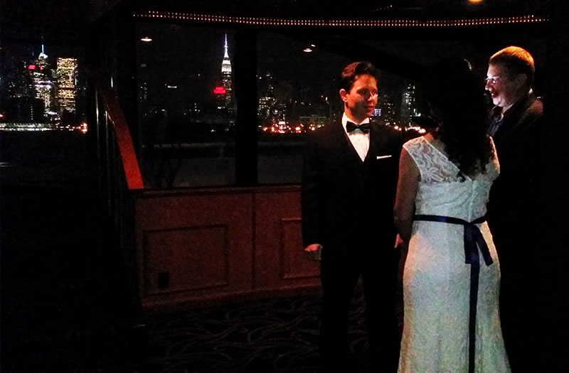 Russian-American Wedding Ceremony, bilingual Russian-English wedding Minister Mikhail, Yacht Manhattan Elite, Chelsea Piers, Pier 61, NYC, New York