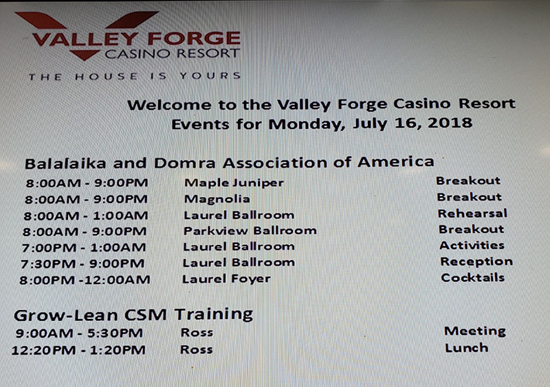 Valley Forge Casino Resort, King Of Prussia, Pennsylvania, USA, BDAA-2018, BDAA day schedule, 40th Anniversary conference, Balalaika and Domra Association of America