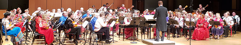 Temple Performing Arts Center, Philadelphia, Pennsylvania, USA, BDAA Orchestra, conductor David Cooper, soloists Peter Omelchenko (domra), Elina Karokhina (balalaika), BDAA-2018, 40th Anniversary conference, Balalaika and Domra Association of America