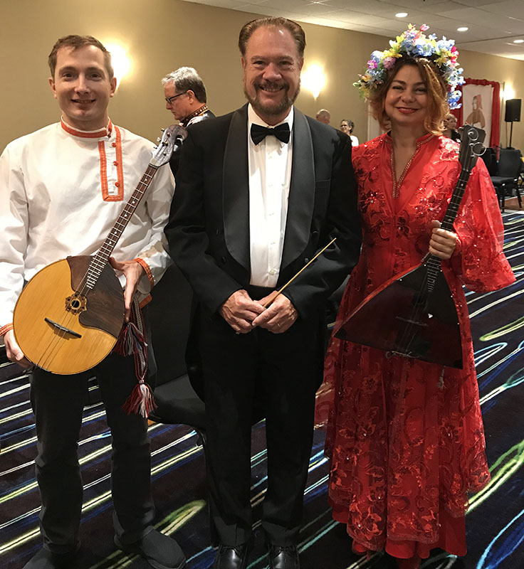Peter Omelchenko (domra), conductor David Cooper, Elina Karokhina (balalaika), BDAA-2018, 40th Anniversary conference, Balalaika and Domra Association of America, Valley Forge Casino Resort, King Of Prussia, Pennsylvania, USA