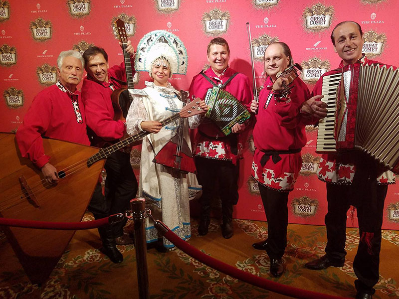 "11-14-2016, Monday November 14th 2016, The best Russian Gypsy Band NYC, ""Moscow Gypsy Army"", Leonid Bruk, Elina Karokhina, Mikhail Smirnov, Sergey Pobedinski, Val Zhmud, Andrei Solodenko, Opening Night Party of ""Natasha, Pierre, and The Great Comet of 1812"", New York City"