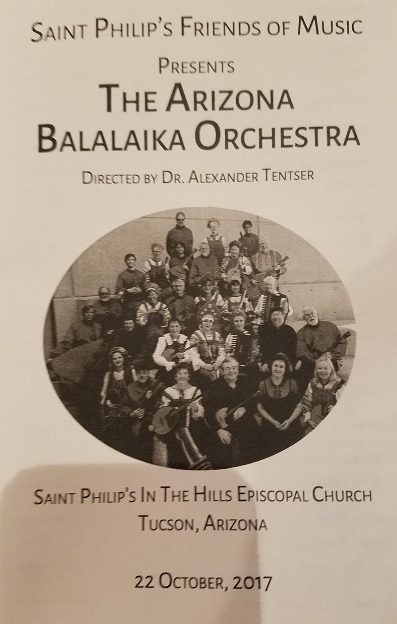 Arizona Balalaika Orchestra, Church Sanctuary of the Historic St. Philip's In The Hills Episcopal Church