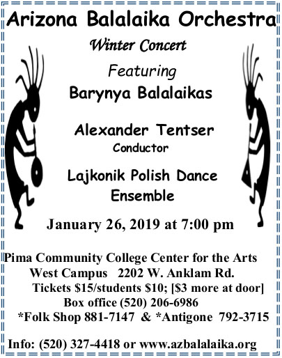 Arizona Balalaika Orchestra, Barynya Balalaika Trio, January 26th 2019, Pima Community Center for the Arts West Campus, 2202 West Anklam Road, Tucson, Arizona  85745