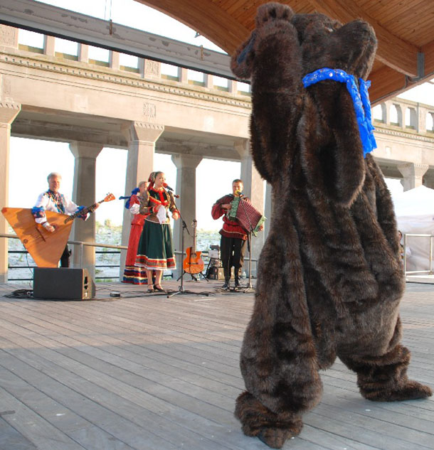 "Dancing Russian Bear. Russian dance and music ensemble ""Barynya"" performance in Atlantic City, NJ"