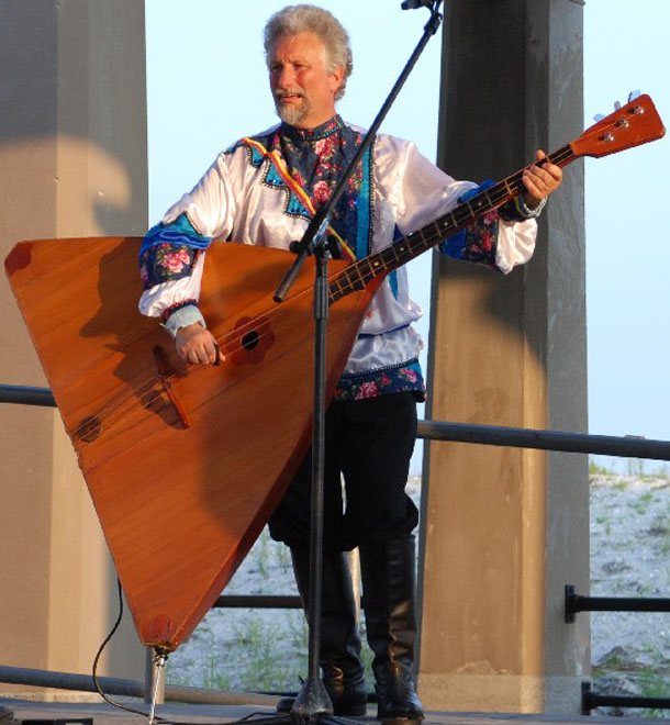 "Leonid Bruk playing balalaika contrabass, Russian music and dance ensemble ""Barynya"" performance in Atlantic City, NJ"