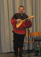 Mikhail Smirnov plays balalaika, ensemble Barynya concert in Chicago, Illinois