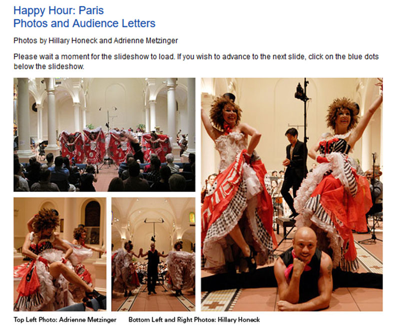 Happy Hour: Paris, NYC CAN-CAN DANCERS, One World Symphony Orchestra, Holy Apostles Church, 296 Ninth Avenue, New York, NY