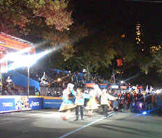 Russian Dance, Song and Music ensemble Barynya, Artistic Director Mikhail Smirnov, New York City Marathon Opening Ceremony, Courtyard at the Tavern On the Green at 67 street and Central Park West, dancers Valentina Kvasova, Anna Zeenenka, Aliaksandr Anatska, Danila Sherstobitov