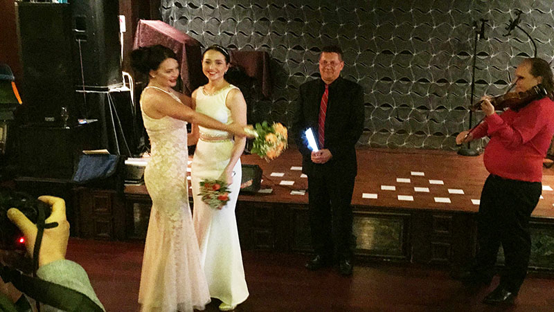 Russian same-sex wedding ceremony, Brooklyn, New York, Sunday, April 19th, 2015, Masha and Kristina wedding ceremony, Signature Restaurant, 2011 Emmons Avenue, Brooklyn, NY 11235