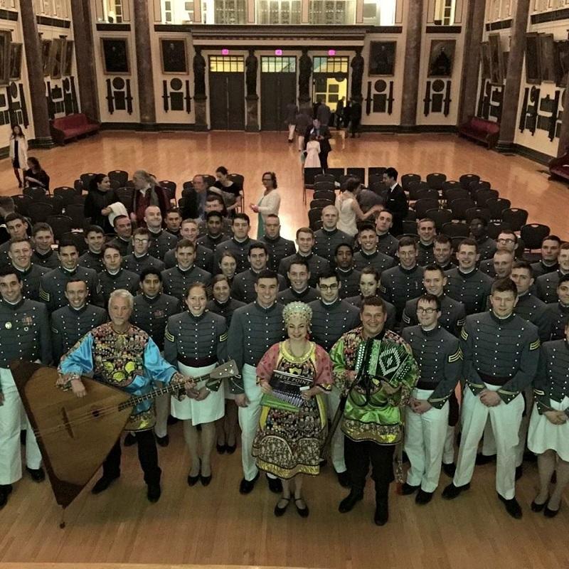 Elina Karokhina, Mikhail Smirnov, Leonid Bruk, West Point Military Academy, NY Balalaika Trio, Russian music, garmoshka, songs, balalaika-contrabass