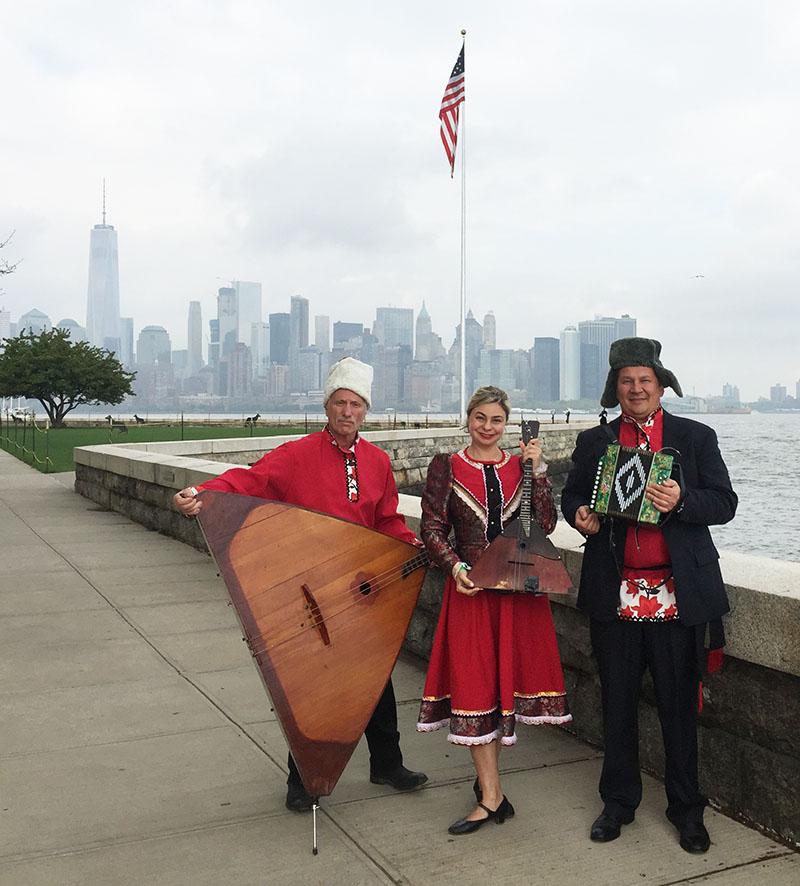 Barynya Balalaika trio, Ellis Island Medals of Honor Ceremony, Ellis Island, New York City, Leonid Bruk, Elina Karokhina, Mikhail Smirnov, Saturday, May 7th, 2016