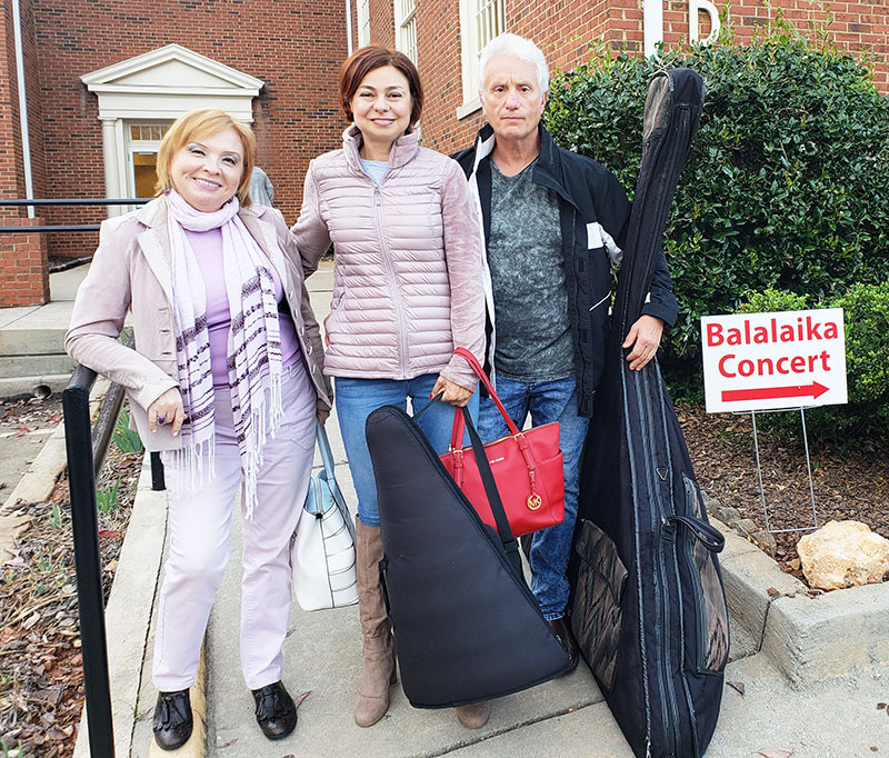 10-20-2018, Saturday, October 20th, 2018, Russian Balalaika Trio, Leonid Bruk, Elina Karokhina, Irina Zagornova, Avondale First Baptist Church, 27 Covington Road, Avondale Estates, GA  30002