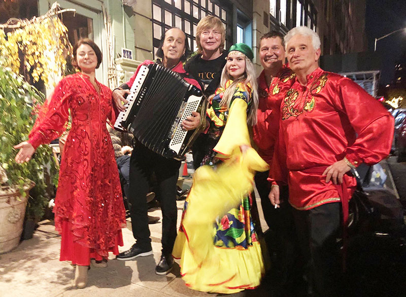 11-11-2018, Sunday, November 11, 2018, Gypsy Band NYC, Moscow Gypsy Army, Leonid Bruk (balalaika contrabass), Elina Karokhina (balalaika), Mikhail Smirnov (guitar, garmoshka, vocals), dancer Alisa Egorova, Andrei Solodenko (accordion), Sasha Tseyitlin (violin), Mari Vanna, New York City, 41 E 20th St, New York, NY 10003