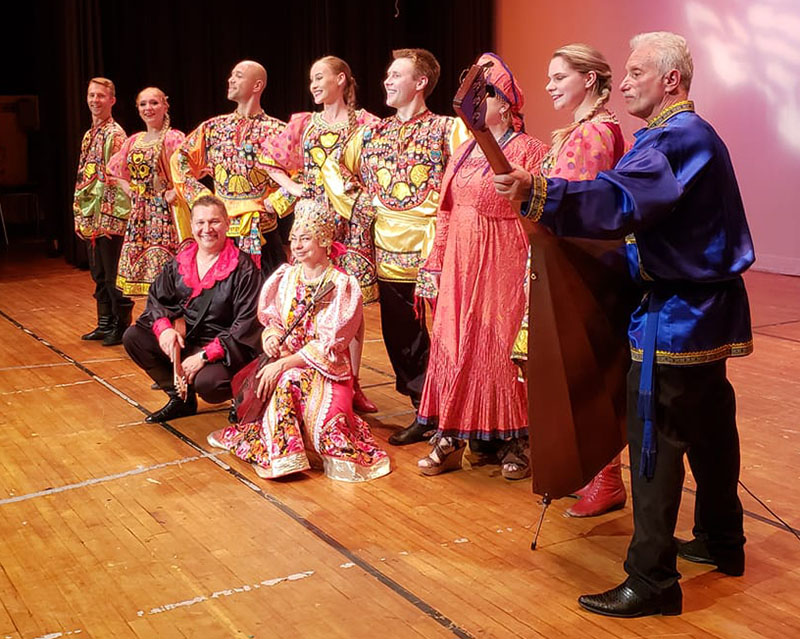 Balalaika Trio, Barynya dancers, Konstantin Tulinov, Vladimir Nikitin, Mikhail Smirnov, Elina Karokhina, Alisa Egorova, Leonid Bruk, Irina Zagornova, Simona Zhukovski, Dinara Subaeva, Boulat Moukhametov, Coney Island Cultural Festival, Gravesend, Brooklyn, 06-24-2018, Sunday, June 24, 2018, John Dewey High School, 50 Ave X, Brooklyn, New York  11223
