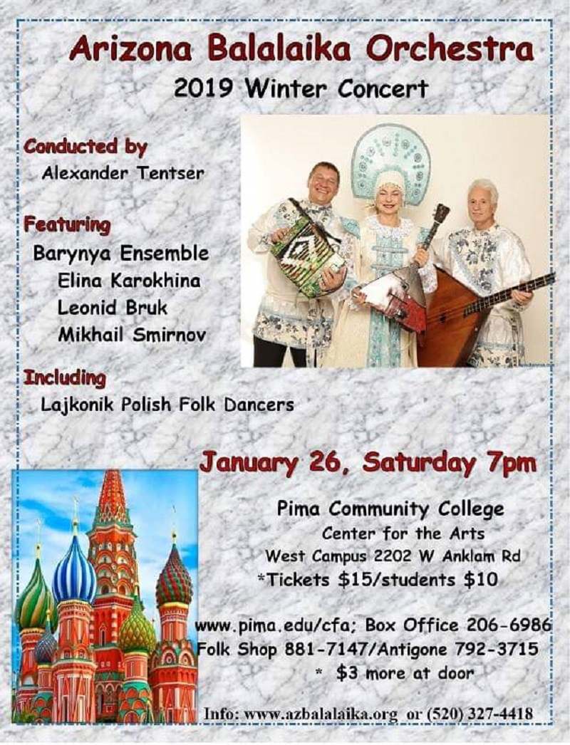 01-26-2019, Leonid Bruk, Elina Karokhina, Mikhail Smirnov, Arizona Balalaika Orchestra, January 26th 2019, Pima Community Center for the Arts West Campus, 2202 West Anklam Road, Tucson, Arizona  85745