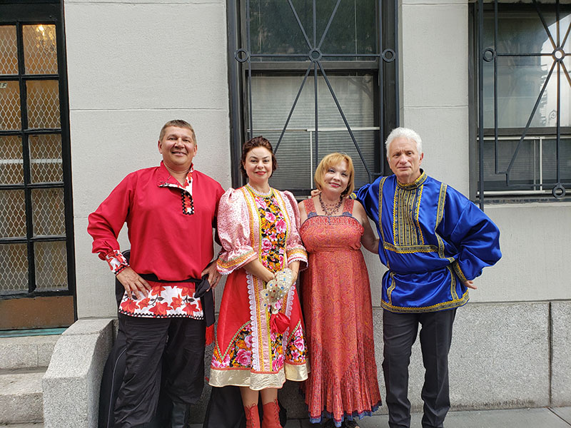 08-16-2019, Russian Balalaika Trio, Leonid Bruk, Mikhail Smirnov, Elina Karokhina, Russian folk singer Irina Zagornova, Midtown West, Manhattan, NY, Friday, August 16th, 2019