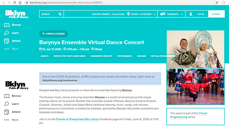Russian dance, music, song ensemble Barynya, artistic director Mikhail Smirnov, June 12th 2020, virtual Russian dance and music concert, Russian, Cossack, Siberian, Moldavian, Russian Jewish, Russian Gypsy, Tatar songs music and dances, live performances on garmoshka, Mikhail Smirnov, Elina Karokhina, Elena Notkina, Konstantin Tulinov, Brooklyn Public Library