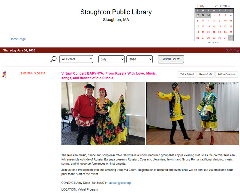 Russian dance, music, song ensemble Barynya, artistic director Mikhail Smirnov, 07-30-2020.  Virtual performance at the Stoughton Public Library, Stoughton, Massachusetts