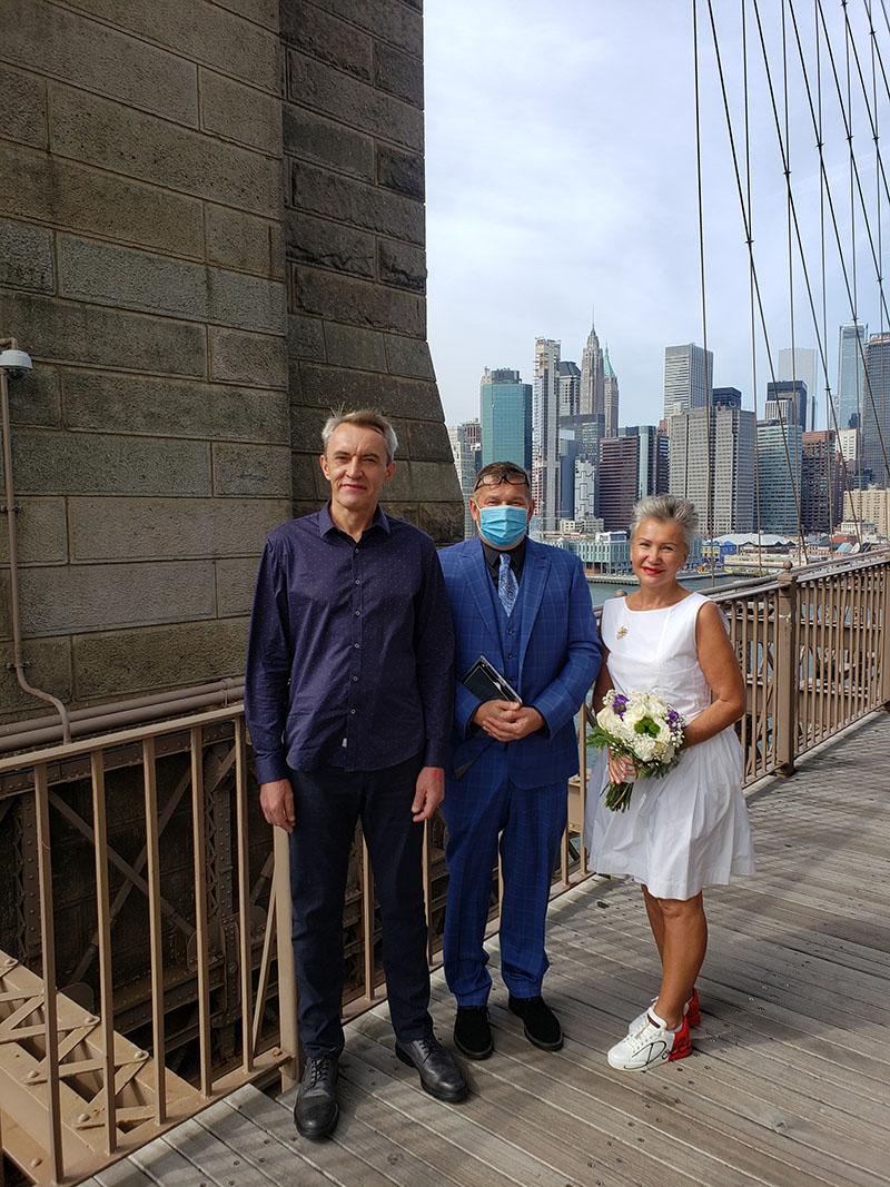 10-10-2020, Saturday, October 10th, 2020, Russian wedding ceremony, Russian wedding minister Mikhail, Russian wedding officiant, Brooklyn Bridge NYC, New York City