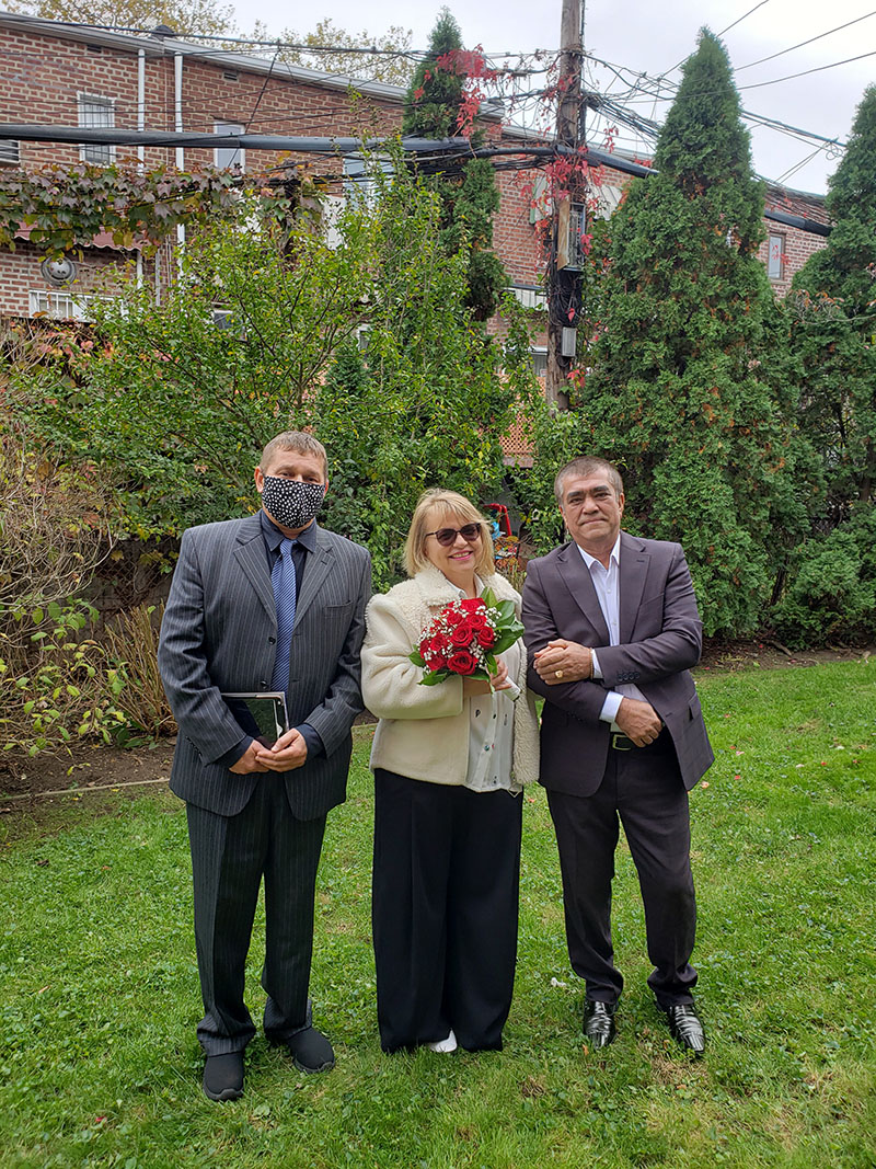 11-01-2020, Sunday, November 1st, 2020, Russian wedding ceremony, Russian wedding minister Mikhail, Russian wedding officiant, Sheepshead Bay, Brooklyn, Kings County, New York