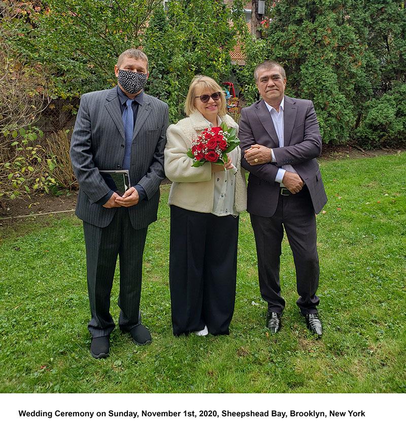 11-01-2020, Sunday, November 1st, 2020, Russian wedding ceremony, Russian wedding minister Mikhail, Russian wedding officiant, Sheepshead Bay, Brooklyn, Kings County, New York