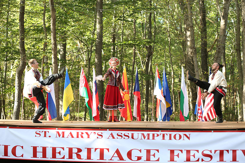 Russian Traditional Dance Barynya, Dinara Subaeva, Vladimir Nikitin, Serhiy Tsyganok, Maryland, Slavic Heritage Festival, St Mary's Assumption Eastern Rite Church, Joppa, MD, U.S. Army photo by Sgt. Kalie Jones