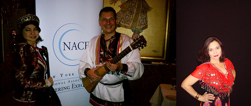 Moscow Gypsy Army Trio, Elina Karokhina, Mikhail Smirnov, Jenya Zolotariova, New York Chapter of NACE (National Association of Catering Executive) event at The Firebird restaurant in NYC, 365 West 46 Street, New York, NY, Tuesday, October 18th 2011