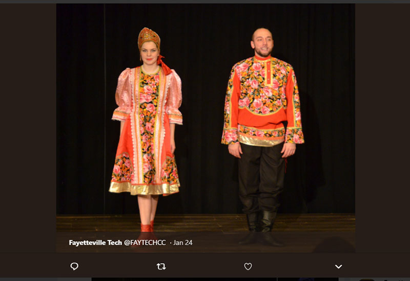 Russian dancers in North Carolina, Ensemble Barynya, Alisa Egorova, Sergey Tsyganok, Cumberland Hall Auditorium, Fayetteville Campus, Fayetteville Technical Community College, 2201 Hull Road, Fayetteville, NC 28303