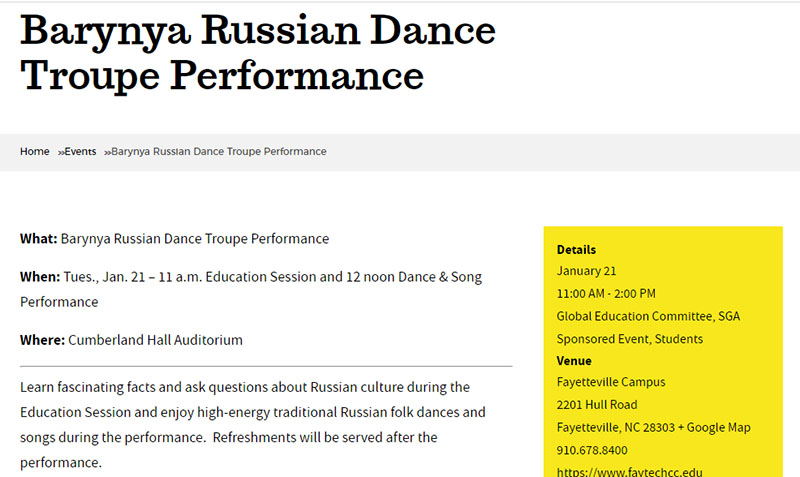Russian dancers in North Carolina, Ensemble Barynya, Cumberland Hall Auditorium, Fayetteville Campus, Fayetteville Technical Community College, 2201 Hull Road, Fayetteville, NC 28303