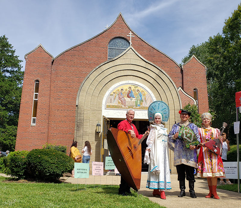 08-31-2019, Russian Balalaika Trio, Leonid Bruk, Mikhail Smirnov, Elina Karokhina, Russian folk dancer Alisa Egorova, Saturday, August 31st, 2019, Faith Food and Fellowship Festival-2019, Holy Trinity Orthodox Church, East Meadow, Long Island, New York, 369 Green Ave, East Meadow, NY