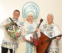 Barynya Balalaika Trio, Mikhail Smirnov, Elina Karokhina, Leonid Bruk, photo credit Yuriy Balan