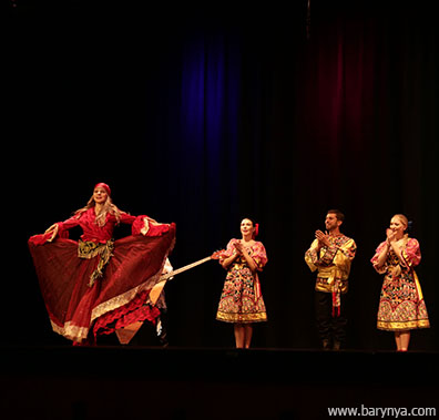 Russian dance and music ensemble Barynya, Saturday, October 13, 2018, Freeport High School, Freeport Community Concert Association, FCCA, Freeport, Long Island, New York, photo credit Yuriy Balan, Valentina Kvasova, Alexander Rudoy, Simona Zhukovski, Serhiy Tsyganok, Irina Biryukova, Konstantin Tulinov, Olga Yeliseyeva, Olga Chpitalnaia, Ilia Pankratov, Vladimir Nikitin. Mikhail Smirnov, Elina Karokhina, Leonid Bruk, Irina Zagornova, Alisa Egorova