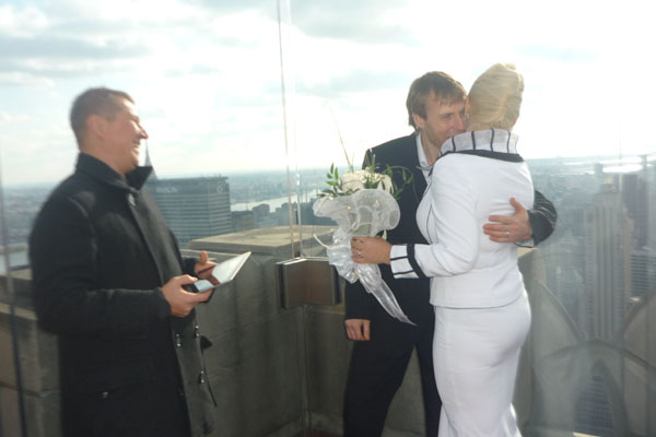 Top Of The Rock, Rockefeller Center, New York City, 11-11-2011, 11:11AM, Russian Wedding Minister Mikhail