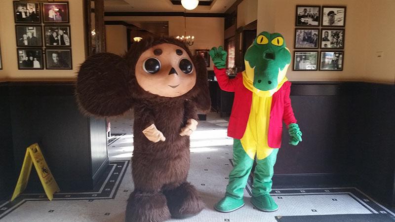 Cheburashka and Krokodil Gena, Maggiano's Little Italy, Hackensack, New Jersey